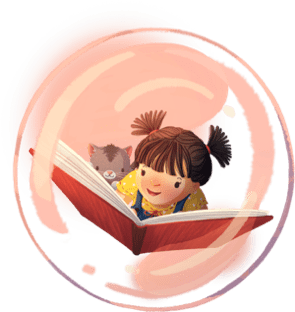Girl Reading in Bubble with Cat
