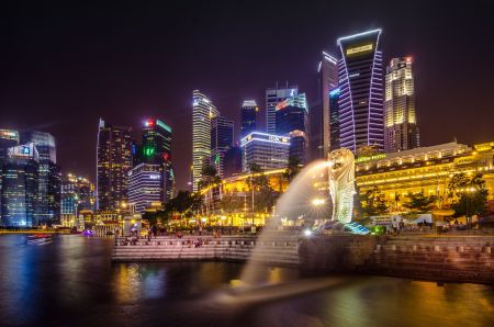 Singapore's city skyline at Singapore River