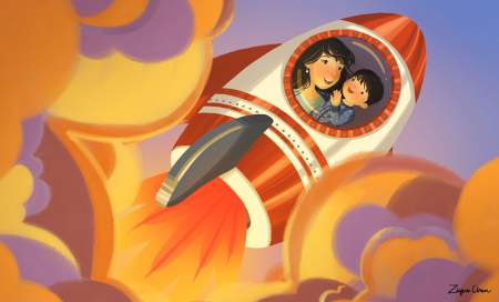 Ziyue's illustration for Rocket-Bye Baby: A Spaceflight Lullaby by Danna Smith.