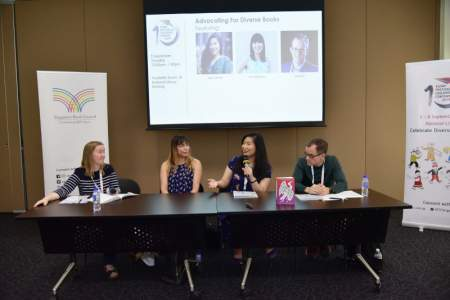 AFCC 2019 - Advocating for Diverse Books (feat, (L-R) Avery Fischer Udagawa, Lisa Charleyboy, Emily X.R. Pan and Philip Nel)